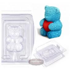 Пластиковая форма 3D Медвежонок сидит с  сердечком в обнимку