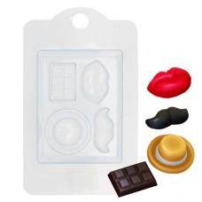 Пластиковая форма декор(усы,губы,шоколад)