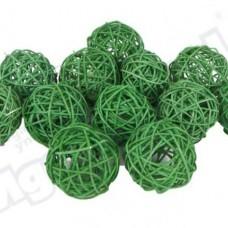 Шар из ротанга 3см зеленый