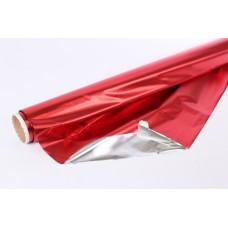Полисилк двухсторонний красный - серебро
