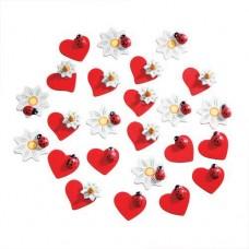 Декоративные элементы (дерево) сердце/цветок/божья коровка (2 шт.) Glorex