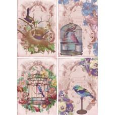 Рисовая карта для декупажа АМ400264 Птички в клетке розовый фон