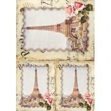 Рисовая карта для декупажа АМ400132 Париж, Эйфелева башня