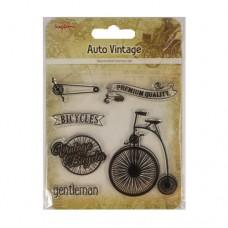 Набор штампов 10,5*10,5см Автовинтаж. Велосипед (англ.) SCB4904016b