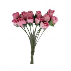 Бутоньерки бумажные Розы, 9,5 см (розовый)