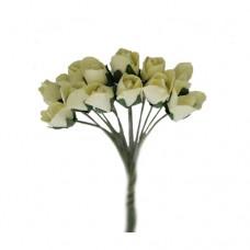 Бутоньерки бумажные Розы, 9,5 см (молочный)