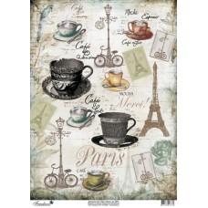Декупажная карта А3, 40 гр./м.кв, арт tdk (010 Кофе в Париже)