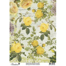 Декупажная карта А4, 40 гр./м.кв, арт tdk (3017 Желтые розы)