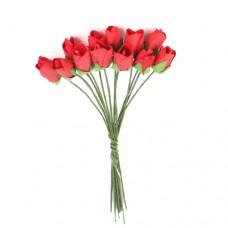 Бутоньерки бумажные Розы, 9,5 см (красный)