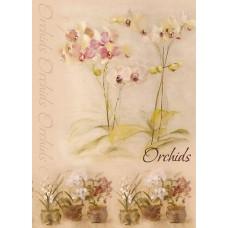 Декупажная карта формат А4 (Цветущая орхидея)