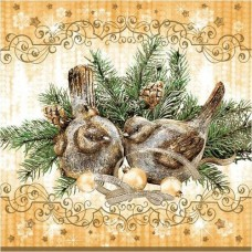Салфетки Maki 3-х слойные 33x33 Новогодние птички